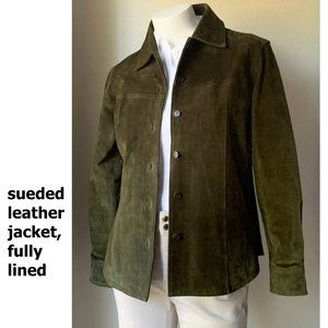 Suede tailored shirt-style leather jacket, olive